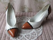Rare! Vtg 80s *All-Leather* White Brown Black Braid Twist Point Court Shoes 7