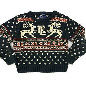 Boys Youth Polo Ralph Lauren Hand Knit Reindeer Long Sleeve Sweater 4 Blue Crew
