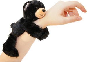 HUGGERS BLACK BEAR PLUSH SOFT TOY SLAP BRACELET STUFFED ANIMAL - WILD REPUBLIC