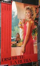 Miller High Life Beer / 1986 Disfrute La Rubia Sexy Woman 37X24 Poster Man Cave