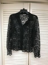 Barbara Lesser, Fibers,  Romantic Button Front Black Lace Top, Sz. Small, EUC!