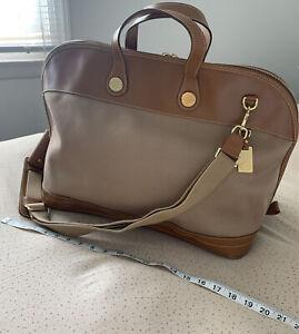 Authentic Vintage Dooney & Bourke Weekender / Travel Luggage Leather Bag Tan