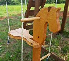 Handcrafted wooden pony swing
