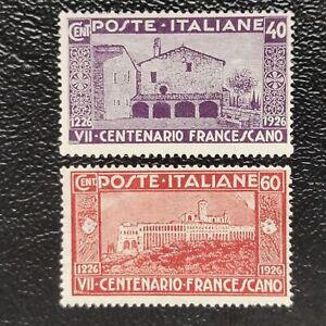 Italia año 1926 7º Centenario Franciscano  N 188 y 189