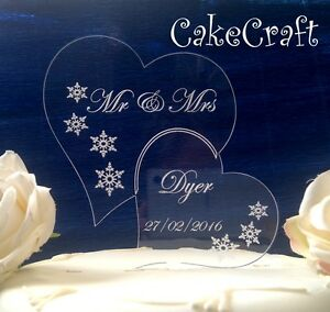 Engraved Winter snowflakes Acrylic Personalised Wedding cake topper decorations