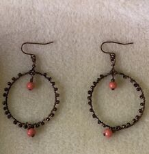 Orange Beaded Hoop Earrings Brass Colored Round Wrap with Two Beads Avon ❤️ NEW