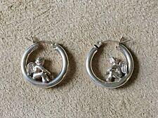 STERLING SILVER CHERUB GUARDIAN ANGEL HOLLOW HOOP EARRINGS BY 1 INCH