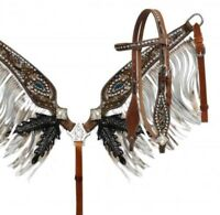 Showman Silver Glitter Painted Headstall & Fringe Breast Collar Set! TACK!