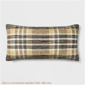 Woven Plaid Oversized Lumbar Throw Pillow Gold - Threshold