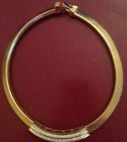 Vintage  C I R O? Gold colour and diamanté  choker necklace USA