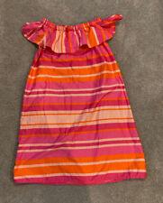 Lands' End Pink & Orange Striped Ruffle On/Off Shoulder Dress - Size M (10-12)