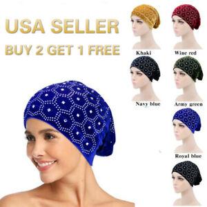 Velvet Crystal Muslim Head scarf Hijab Caps Islamic Underscarf Ninja Scarf hat