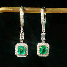 New Arrival Natural Emerald Diamond Dangle Earrings Solid G18K Multi-Tone Gold