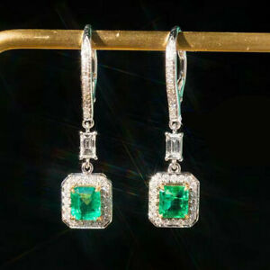 New Arrival Natural Emerald Diamond Dangle Earrings Solid G18K Multi-Tone Gold