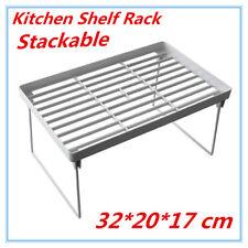 6 X Kitchen Pantry Plastic Shelf Rack Food Storage Organiser Bathroom Office FD M 32x20x17cm
