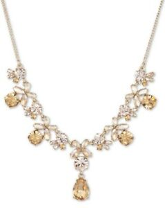 """new GIVENCHY Crystal Flower Statement NECKLACE 16"""" + 3"""" extender chain gold tone"""