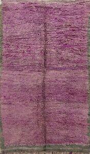 Antique Authentic Moroccan Berber Area Rug Vegetable Dye Plush Wool Handmade 6x9