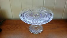 VINTAGE PRESSED GLASS FOOTED CAKE STAND