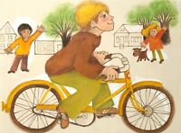 MILDA VIZBAR 1933-2019 NEW YORK CITY ILLUSTRATION DRAWING CHILDREN PORTRAIT BIKE