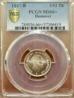 1847-B German States Hannover 1/12 Thaler Finest Known PCGS MS66+ KM# 194.2