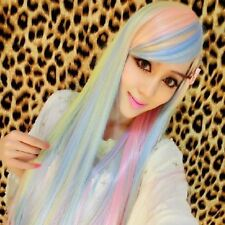 cosplay Harajuku lolita long Straight hair gradient Rainbow cos wig  TI:3