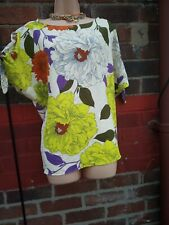Womens River Island size 18 Cold shoulder tie bows floral top neon spring summer