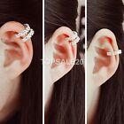 925 Sterling Silver Plated Ear Cuff Crystal Rhinestone Wrap Cartilage Clip On St