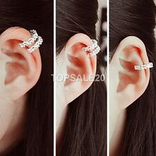 925 Sterling Silver Plated Ear Cuff Crystal Rhinestone Wrap Cartilage Clip On St