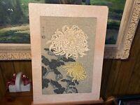 Vintage NISABURO ITO Japanese Woodblock Uchida Printing Peonies Flowers Yellow