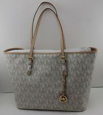 NEW AUTHENTIC MICHAEL KORS VANILLA JET SET TRAVEL MD TOTE SIGNATURE HANDBAG