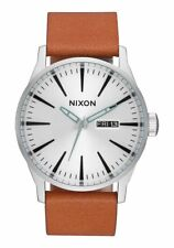**BRAND NEW** NIXON WATCH SENTRY LEATHER SILVER TAN A1052853 NEW IN BOX!