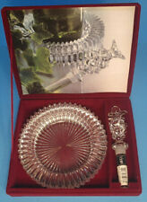 MIKASA Crystal Wine Set DIAMOND FIRE Coaster, Bottle Stopper and Red Velvet Case