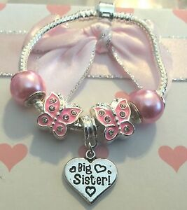Personalised baby childrens girls pink butterfly charm bracelet in gift box