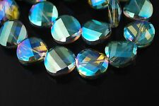 10pcs Green Colorized Glass Crystal Twist Tile Beads 14mm Spacer Jewelry Finding
