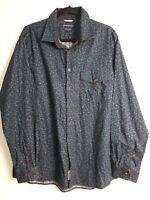 Sportscraft Men's 100% Cotton Blue Floral Long Sleeve Shirt Size L