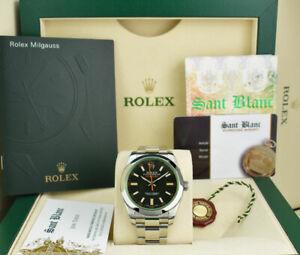 ROLEX 40mm Stainless Steel MILGAUSS Black Dial Green Crystal 116400GV SANT BLANC