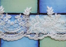 1/2 M*Corded/Scalloped Lace Trim-Bridal Fabric*Top Quality*Light Ivory/Off White