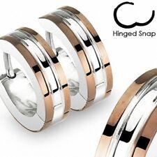 1 Paar Edelstahl Schmuck Klapp Ohrringe Creolen Huggie Silber / Bronze