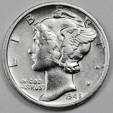 """1945-s Mercury Head Dime.  Error.  Micro """"s"""" Mint Mark. High Grade. (Inv. F)"""