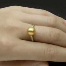 AAA Natural Golden Real South Sea Pearl Diamond Ring 18K Yellow Gold AU750 6#