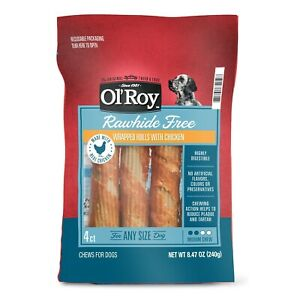 Ol' Roy Rawhide Free Wrapped Rolls with Chicken for Any Size Dogs, 4 count.