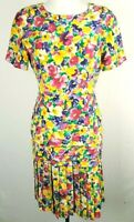 Vintage Women's YL Dress Silk Floral Yellow Multicolor Pleated Size 6 Summer