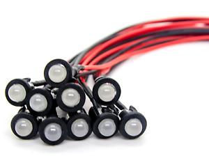 10Stück 3mm LED Verkabelt Diffus 3000K° Warm Weiß LEDs 9V DC mit  Halter Clips