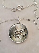 Sterling Silver 925 Necklace Archaeopteryx Dinosaur Bird Fossil