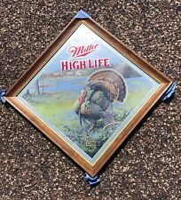 """Nos Miller High Life """"Show Time� Beer Mirror Sign Turkey Hunting Man Cave"""