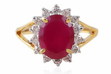 5.80 Cts Natural Diamonds Ruby Cocktail Ring In Solid Certified 18K Yellow Gold