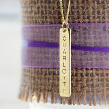 De 9 quilates de oro plateado Personalizado Lingote Estilo Rectangular Bar Colgante Cadena de opción de regalo