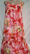 Orange Pink Coral Floral dream Summer Overlay Maxi DRESS size 20 lined NEW
