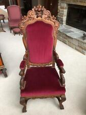 Rare Antique 19th Century Horrix Hand Carved Walnut Upholstered Throne Chair