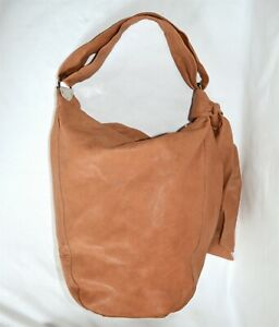 Kooba Large Hobo Bag Tan Leather Womans Bucket Shoulder Tote Handbag Purse